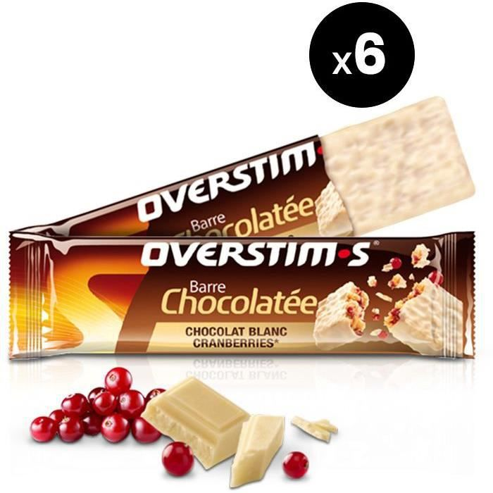 OVERSTIMS– Barre Chocolat Blanc / Cranberries (6 barres)