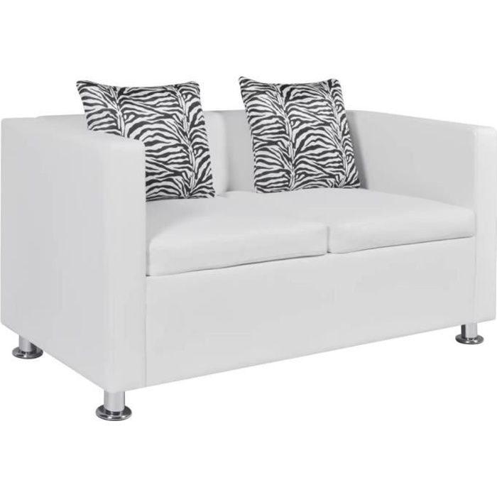 Canapé Droit Sofa 2 places Deux oreillers Cuir synthétique Blanc 120 x 62,5 x 63 cm