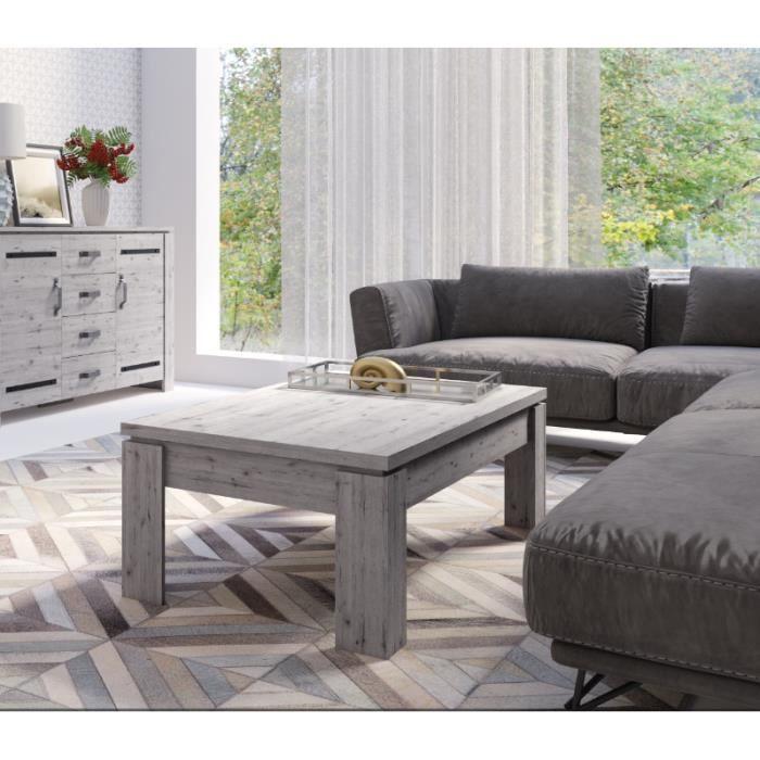 Table basse pour votre salon IRON. Coloris chêne naturel Wellington. Design et tendance 70 Marron
