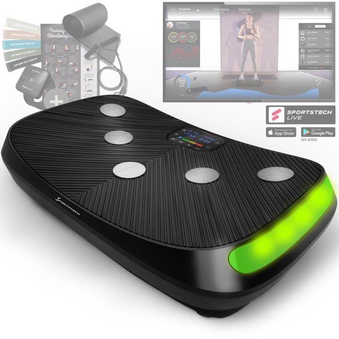 Sportstech VP400 Plateforme Vibrante Oscillante professionnelle Fitness avec technologie de vibration 4D, fréquence jusqu'à 40Hz
