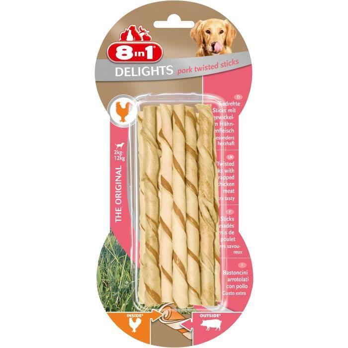 8IN1 Friandise stick à mâcher - En peau de porc garni de viande poulet - Pour chien - 10 pièces
