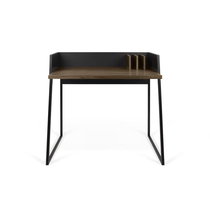 Bureau design en bois 3 compartiments L90cm VOLGA-Noir mat/Chêne