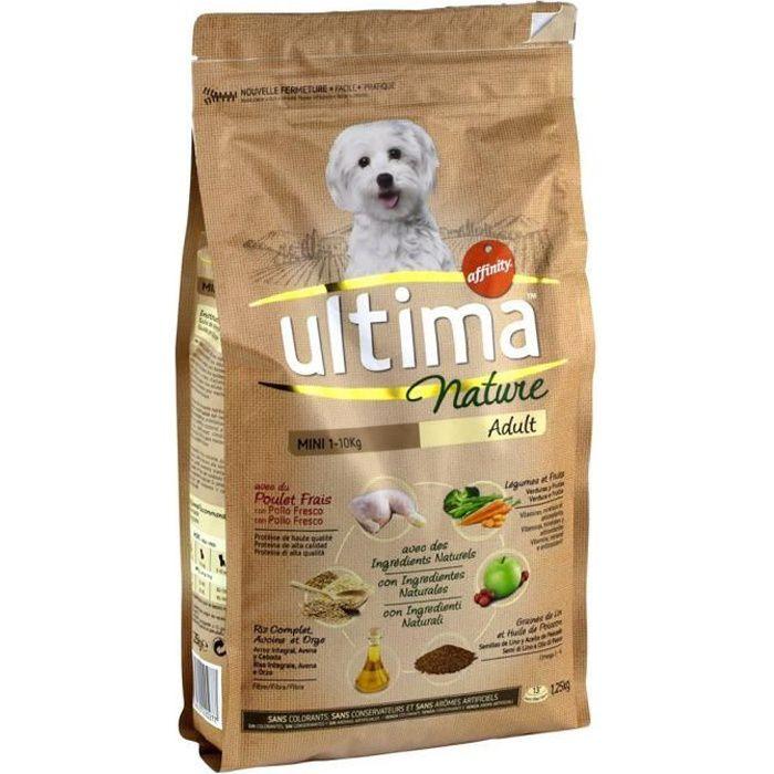 Ultima Nature Croquettes Chiens Adult Mini 1-10 Kg Poulet Riz Complet Légumes Fruits Format 1,25Kg (
