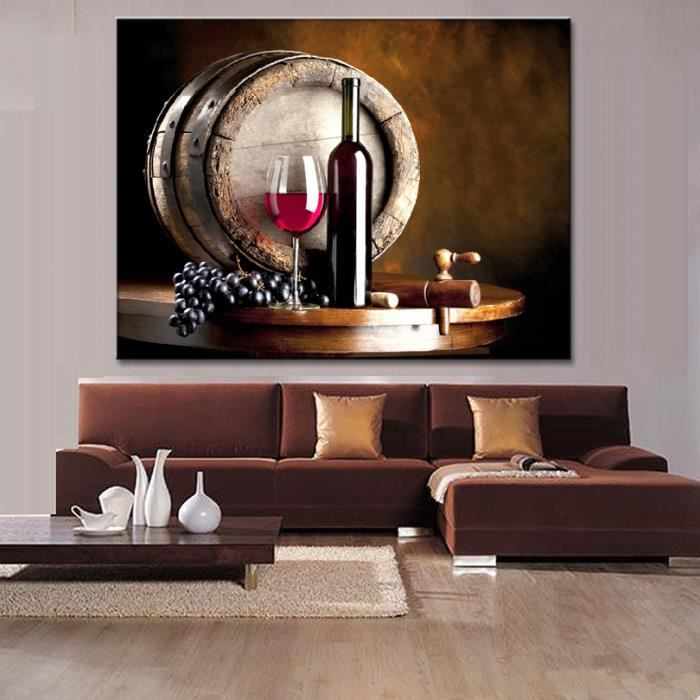 art moderne peinture vin et fruits avec verre et baril. Black Bedroom Furniture Sets. Home Design Ideas