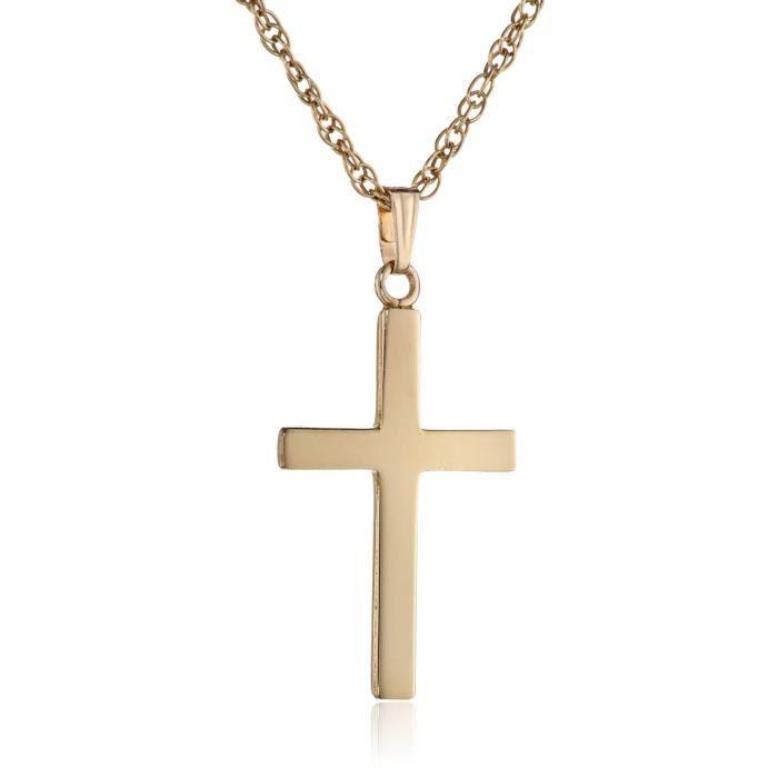14K Or Jaune Pendentif Croix avec TOPAZE BLEUE Pierres Précieuses