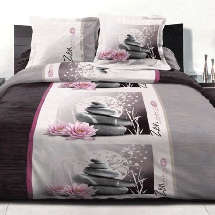 parure de couette 3 pi ces 240x260 cm zen lotus achat. Black Bedroom Furniture Sets. Home Design Ideas