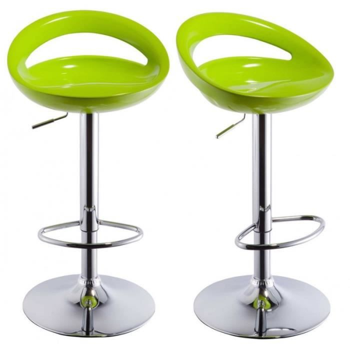 lot de 2 tabourets de bar design plastique abs dossier vert 1209035 achat vente tabouret de. Black Bedroom Furniture Sets. Home Design Ideas