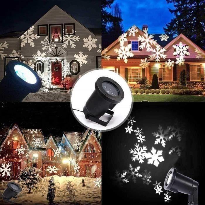 Projecteur LED Mouvement Flocon de Neige Lumineux, Lumiere Decoration de  Projecteur Pere Noel Exterieur S0253E