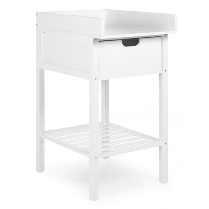 Table langer et tiroir h tre blanc blanc achat for Table a langer childwood