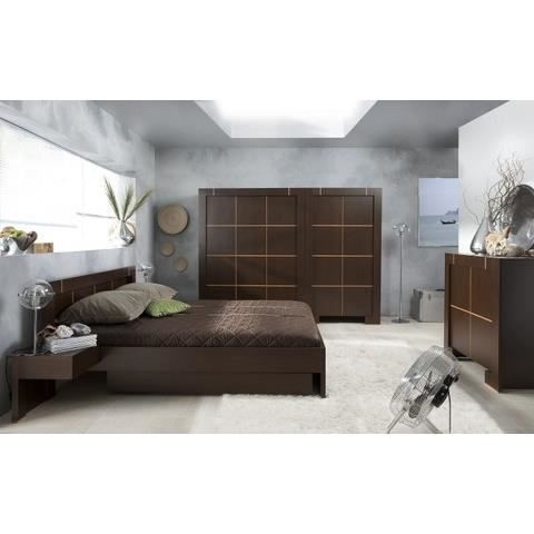 lit double moderne 180x200 avec 2 tiroirs 2 chevets achat vente structure de lit lit double. Black Bedroom Furniture Sets. Home Design Ideas