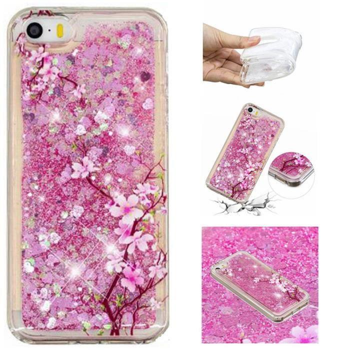 coque iphone se 5s 5 fleur de cerisier souple tran