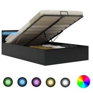 STRUCTURE DE LIT Cadre de lit à rangement avec LED Noir Similicuir