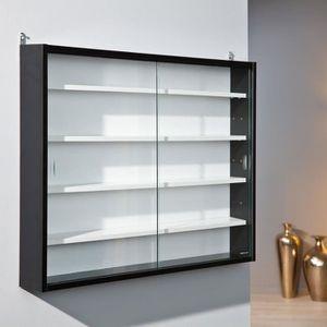 VITRINE - ARGENTIER Vitrine 4 étagères blanc et noir 80x60x9,5 cm noir