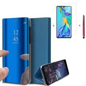 HOUSSE - ÉTUI Etui Coque Huawei P30 Lite Bleu Clear View  + 1 Pc