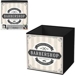 BOITE DE RANGEMENT Cube de rangement 'Barbershop' beige gris - 31x31
