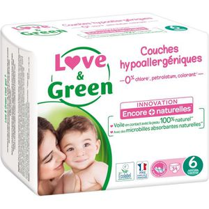 - Pack 1 Mois 184 Couches Love /& Green Couches Taille 4 7-14 Kg