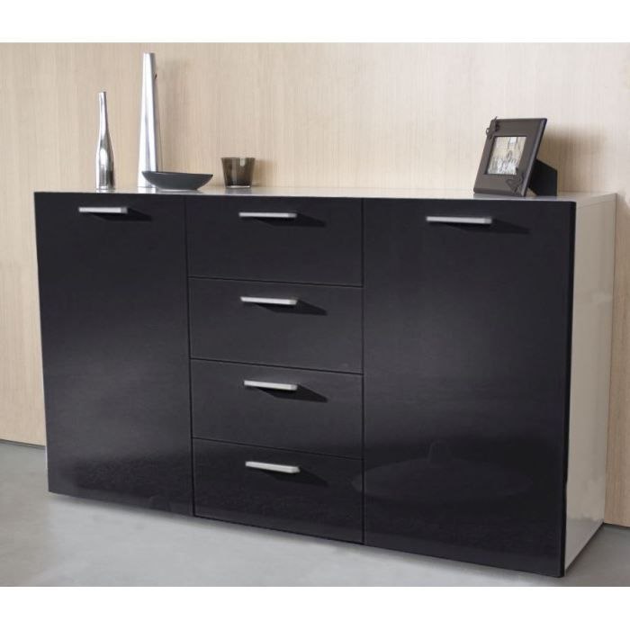 finlandek buffet laqu e florida noir blanc achat vente. Black Bedroom Furniture Sets. Home Design Ideas