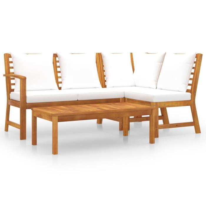 Elégant - Ensemble repas de jardin Haut de gamme - 4 pcs avec coussin Meuble -Crème Bois d'acacia solide @425077