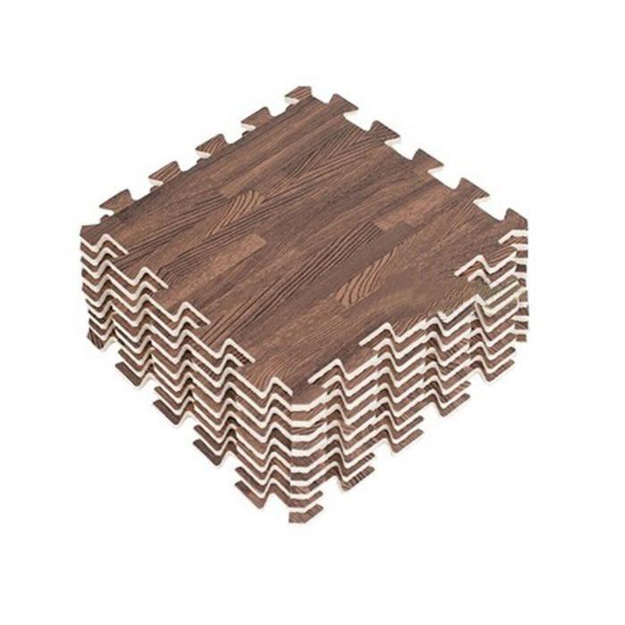 Doux Bois Interlocking Tiles mousse mousse EVA tapis de sol (9 carreaux, marron)