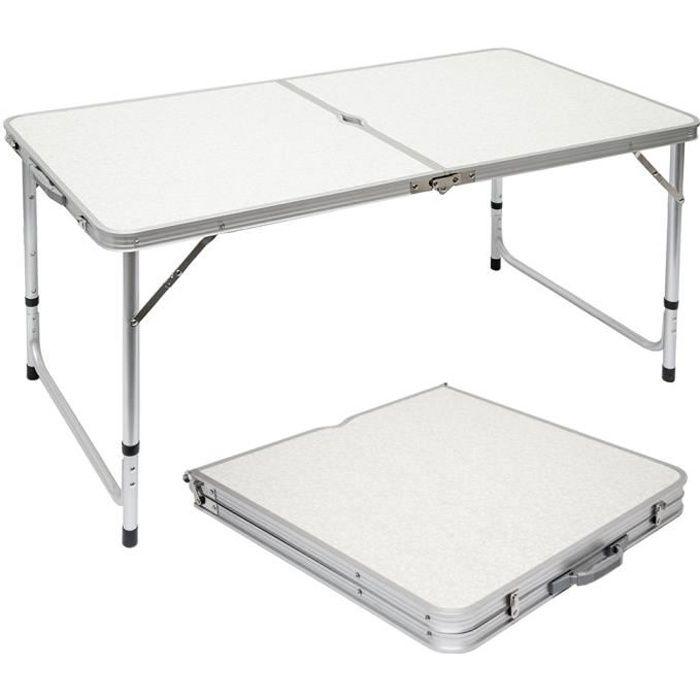 Table de camping 120x60cm en Aluminium Gris clair Hauteur réglable Format mallette