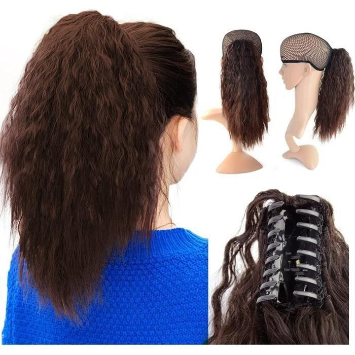 Rajout Cheveux Queue de Cheval Longue Extension Postiche Vrai Cheveux Humains Bouclés - Wrap Around Corn Wave Curly Ponytail Att189