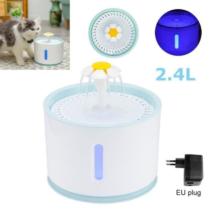 Fontaine à Eau pour Chat et Chien Fleur avec Filtre et LED Lumineuse, 2,4L Fontaine de Filtre Silencieuse Pompe à Eau Distributeur