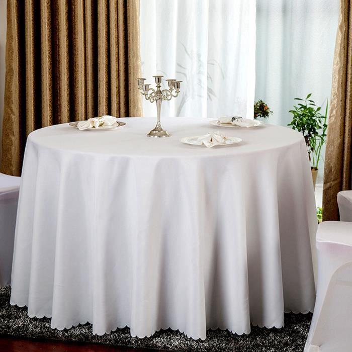 Nappe de table, Nappe ronde blanche, Nappe ronde 240 cm, Nappe ronde antitache, Nappe exterieur table ronde pour restaurant, maison
