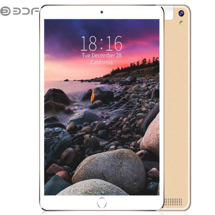 BDF Tablette PC Tactile 10.1 pouces Appel Tablet PC MTK 6580 3G - 4G Android 7.0 5000mAh avec housse de protection - Or