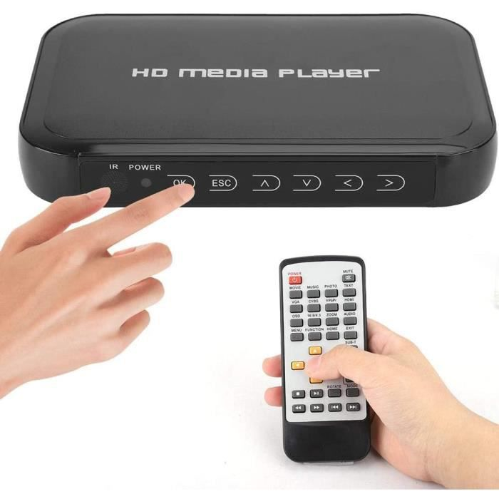 Lecteur Multimédia HDMI, 1080P Mini Lecteur Multimédia HDMI Support Carte SD/MMC, Disque U, Disque Dur Mobile Mini Lecteur Multimédi