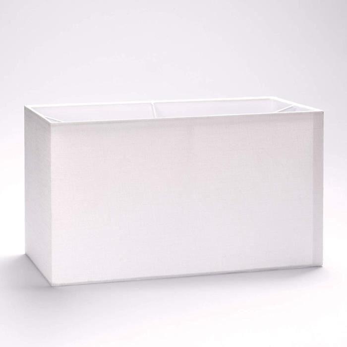 ABAT-JOUR Abat-jour rectangulaire en tissu, E27, blanc, 32 cm, 40 cm, Wei&szlig, 32x16x18cm56