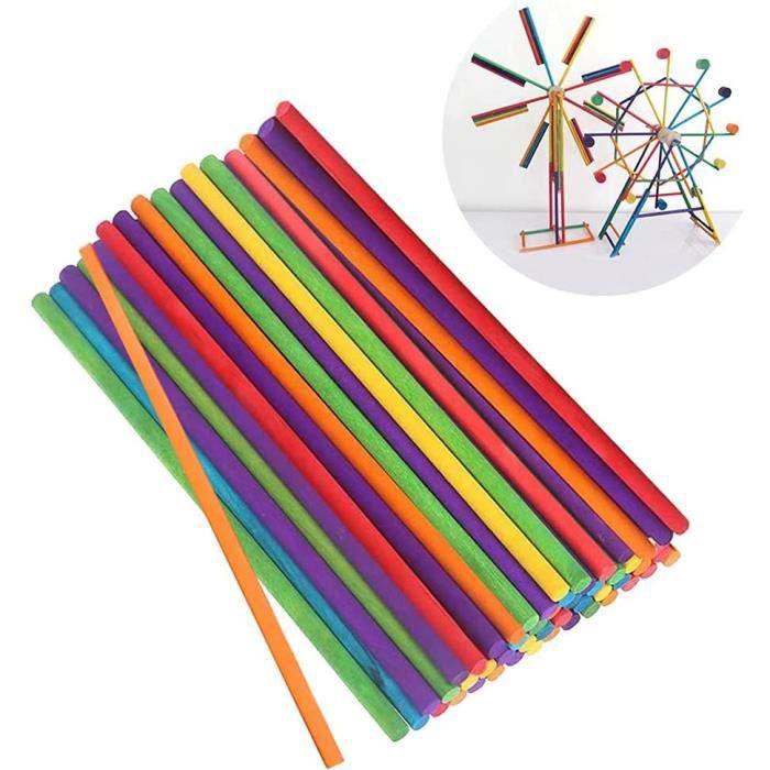 200pcs 15cm Batonnet Bois, Bâtons Rond en Bois Naturel, Colorés Tige en Bois, Bâtons Bois Creatif DIY pour Enfants, Bâtons Suce[208]