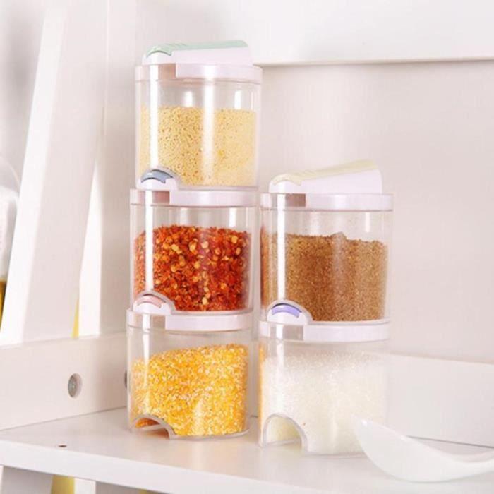Pot a épices,Boîtes d'assaisonnements en plastique, bocal à épices, présentoir à condiments, bouteilles à poivre, ustensile de