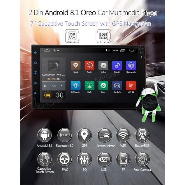 EINCAR Android 8.1 Radio Stéréo 2 GPS GPS Bluetooth 4.0 WiFi 4G USB SD RDS Miroir Lien OBD2 2GB RAM avec Caméra Arrière