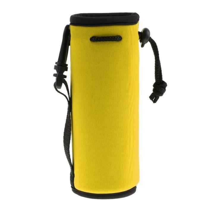 KIT DE SURVIE néoprène isotherme sport bouteille d'eau housse pochette pochette sac jaune