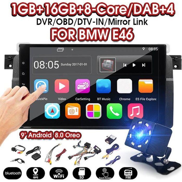 T4W Autoradio Android 8.0 Stéréo GPS Radio Sat Nav OBD DAB WiFi + Caméra Pour BMW E46