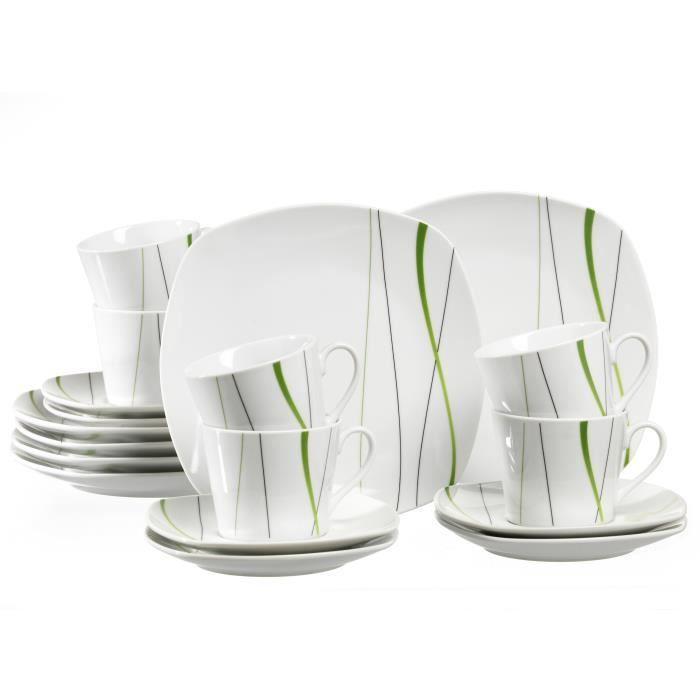 Service à Café Ritzenhoff & Breker Grace, Blanc - Vert, Porcelaine, 18 Pièces