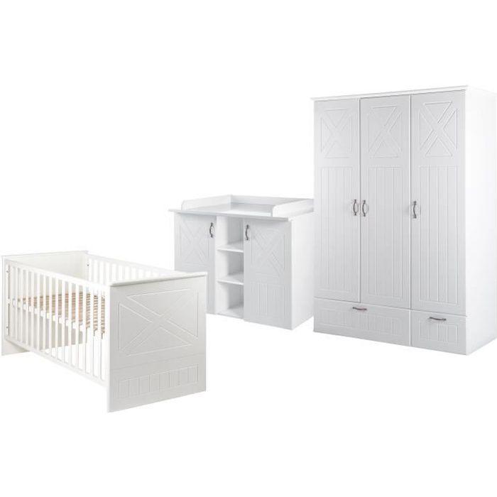 ROBA Chambre enfant complète -Constantin- - lit bébé 70x140 cm, commode à langer et armoire à 3 portes