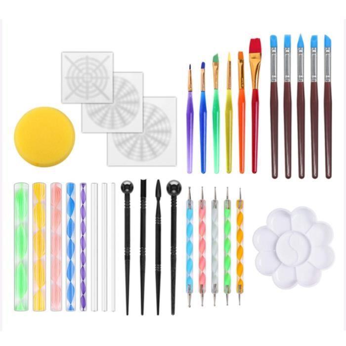 33Pcs Outils de Pointage Mandala pour Fournitures de Peinture Rupestre, Peintures À L'Argile et Kit D'Art D'Ongles Tiges en