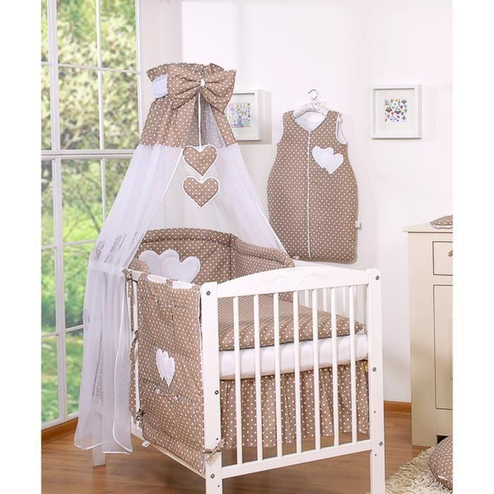 Ciel de lit bébé en voile avec bande – marron à po