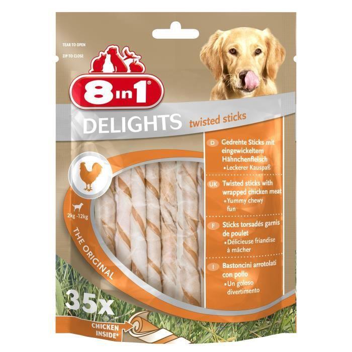 8IN1 Friandise stick à mâcher - En peau de bœuf garni de viande de poulet - Pour chien - 35 pièces