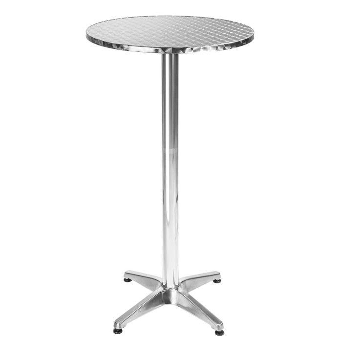 TECTAKE Table Mange Debout en Aluminium Ø 60 cm - Hauteur réglable 70 ou 110 cm
