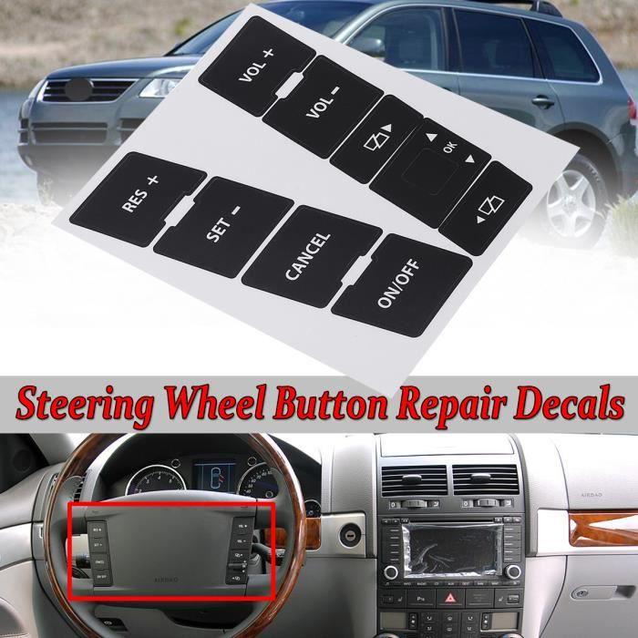NEUFU Kit Autocollant de Voiture de Volant Bouton Sticker Pour VW Volkswagen Touareg 2004–2009