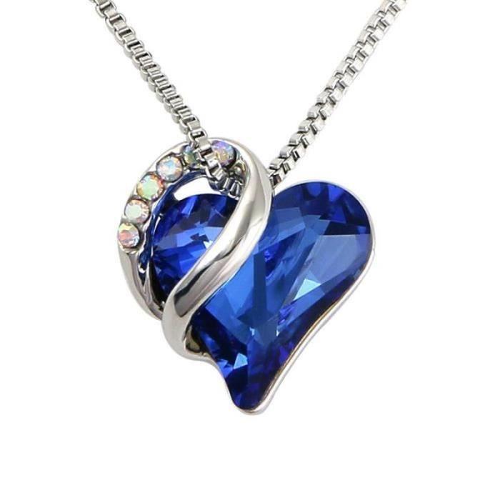 WF26828-Pendentif Collier Coeur d'amour Collier Femme Swarovski avec Cristaux-élégant Bijoux Femme Cadeau d'anniversaire pour Elle