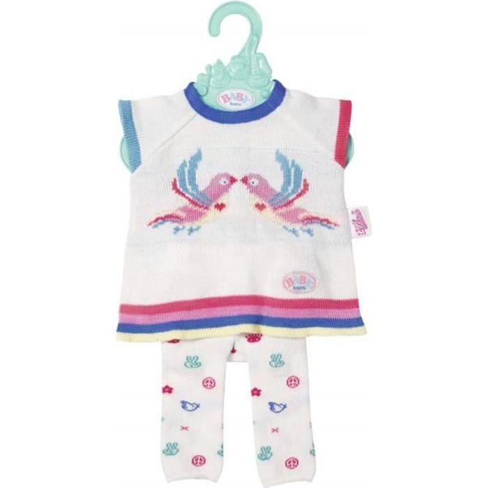 Baby Born Trend - Ensemble de vêtements en Tricot - Rose/Blanc - 43 cm