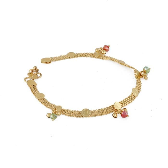 neuf Bracelet de cheville Diamant 25cm Plaqu/é Or 18 carats