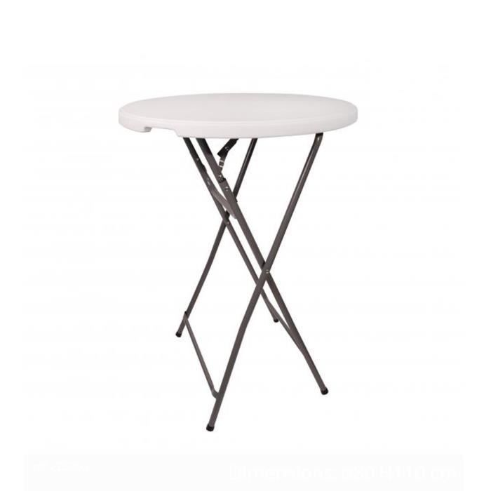 Tables De Jardin Table Haute Mange Debout Pliable O 80 Cm