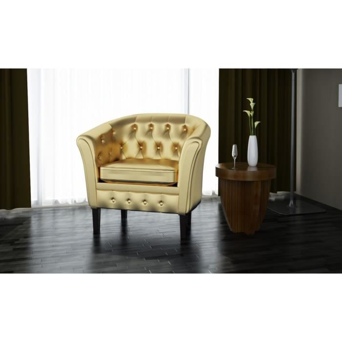Fauteuils club fauteuil chesterfield or achat vente fauteuil cdiscount - Fauteuil club chesterfield ...