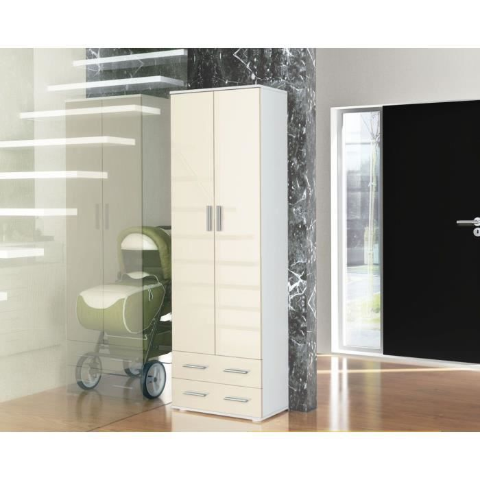 vestiaire penderie d 39 entr e blanc cr me laqu achat vente meuble d 39 entr e vestiaire penderie. Black Bedroom Furniture Sets. Home Design Ideas