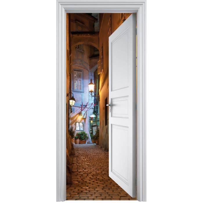 sticker porte trompe l oeil ruelle 90x200cm achat vente stickers carton vinyl cdiscount. Black Bedroom Furniture Sets. Home Design Ideas