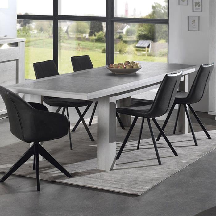 Table Extensible Moderne Couleur Chene Blanc Et Gris Childeric 180